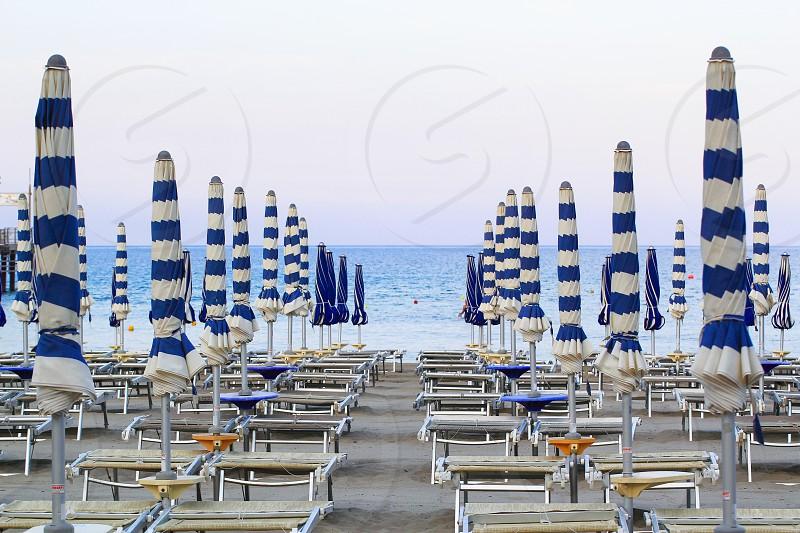 Beautiful beach in Liguria in the town of Laigueglia photo