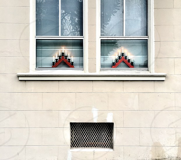 Christmas decorations in windows photo