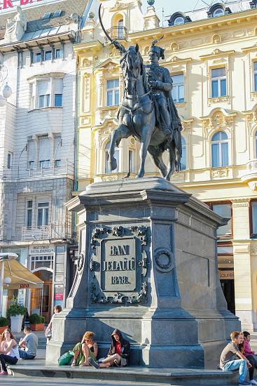 statue of Josip Jelačić Ban of Croatia located in downtown Zagreb photo