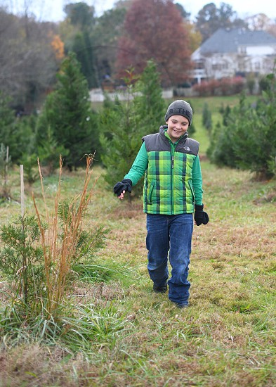 Tree farm winter hiking boy child outdoors Christmas Tree Christmas photo