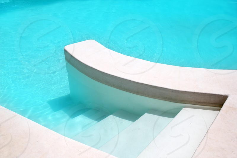 white pool turquoise water clean composition in mediterranean house photo
