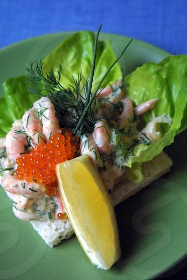 Grandma's Skagen mix sandwich (shrimp dill crème fraîche etc)... with lemon photo