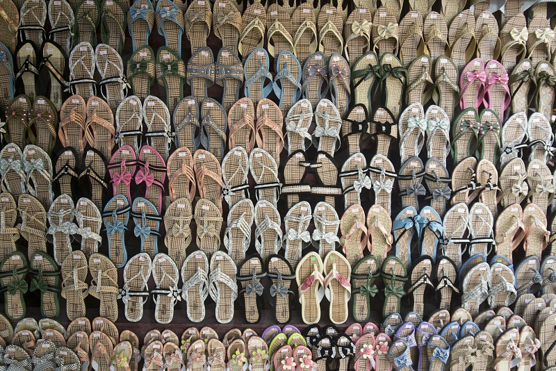 shoes at a marketstreet in the City of Mandalay in Myanmar in Southeastasia. photo
