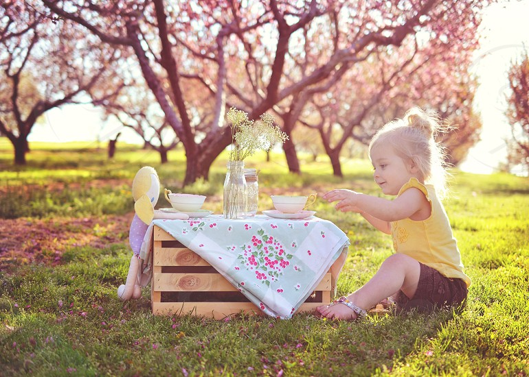 girl in yellow blouse playing tea set on grass lawn photo