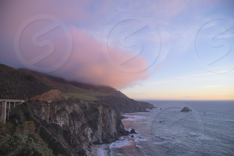 clouds big sur nature bridge beautiful travel nature pink ocean photo