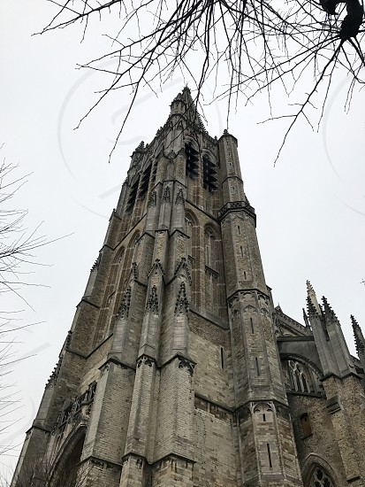 Outdoor day colour vertical portrait Ypres Ypres Salient Belgium Europe European church religion Christian Christianity gothic style architecture flying buttress buttresses stone sculpture carving masonry holy worship religious building religion photo