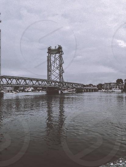 grayscale photo of bridge photo