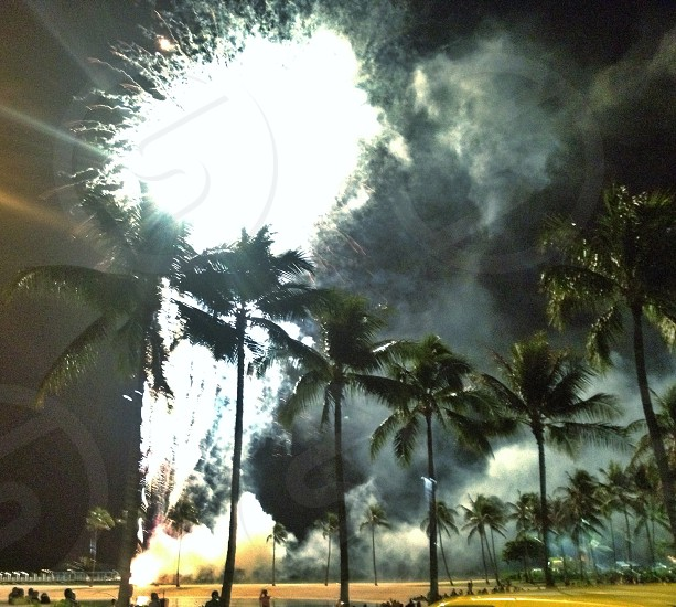 timelapse photo of fireworks behind palm trees during night time photo