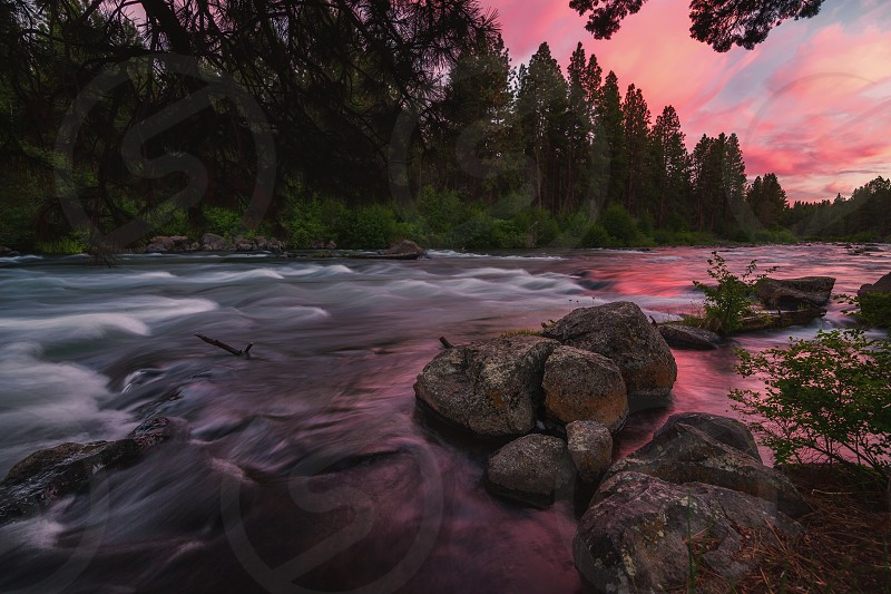 Color image of the Deschutes River at sunset. Central Oregon USA photo