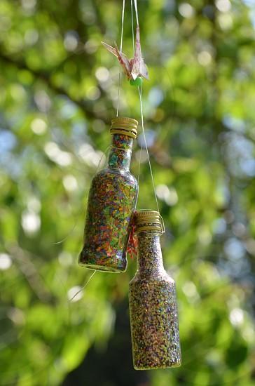 Trees green bottles glitter photo