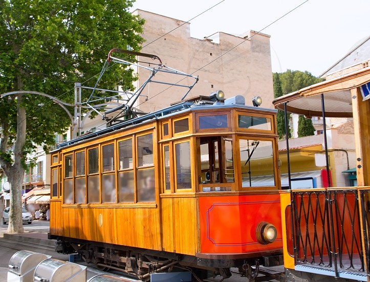 Classic wood tram train of Puerto de Soller in Mallorca island from Spain photo
