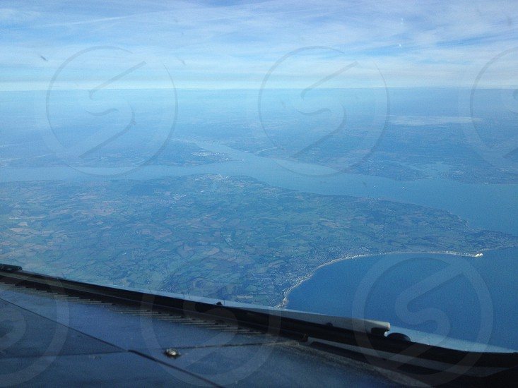 View of the Isle of Wight from the cockpit photo