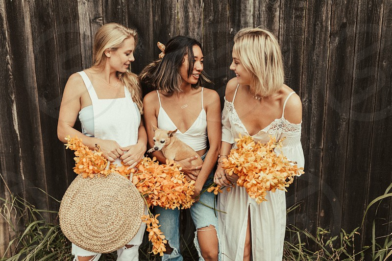 Friends and flowers photo
