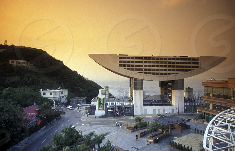 The Peak Tram Station on the Peak in Hong Kong in the south of China in Asia. photo