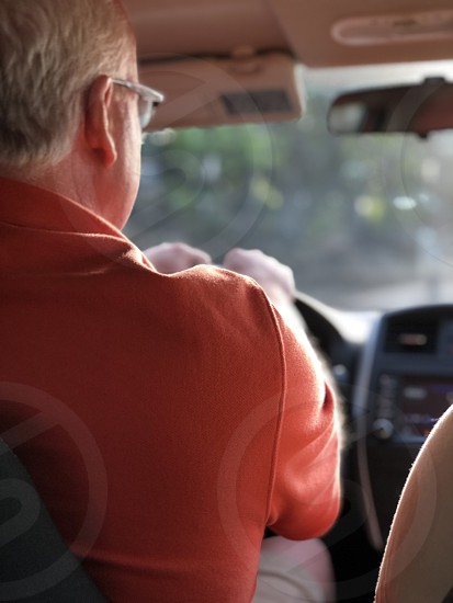 Ride share iuber car driving driver interior man traveling  photo