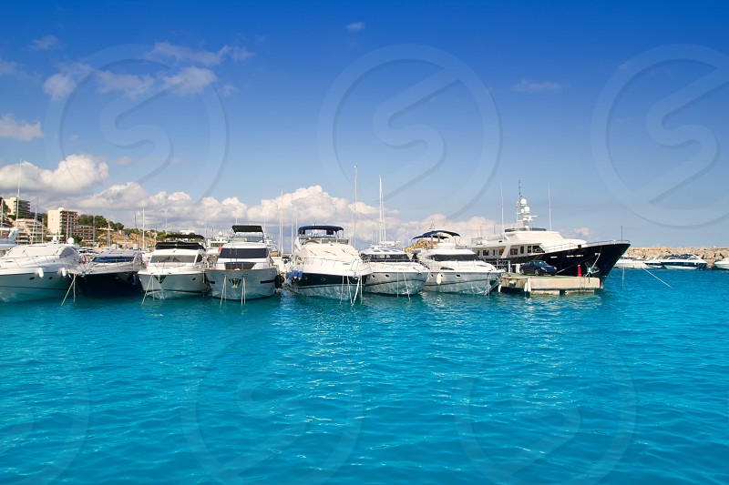 Calvia Puerto Portals Nous luxury yachts in Mallorca Balearic island from Spain photo
