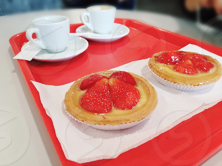 Breakfast with a delicious pastry and a hot coffee is the best moment to begin your day ❤ photo