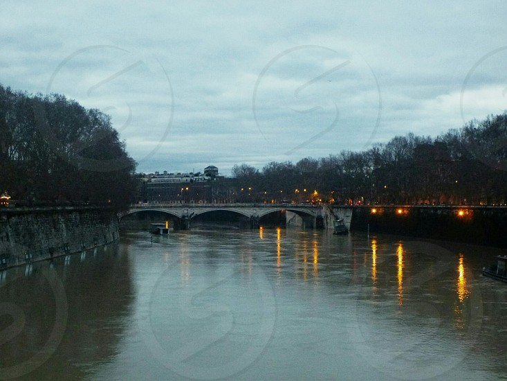 River along in a silent evening. Rome. photo