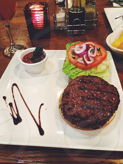 Angus beef burger from the Rump & Rib restaurant in manchester.  photo
