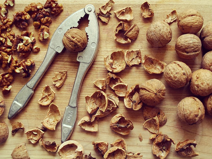 ingredient nuts walnuts shell brushed core wooden background photo