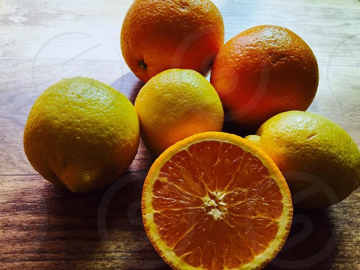 Orange lemon fresh fruits photo