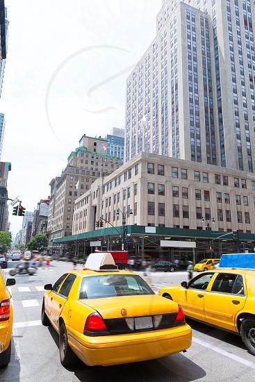 New York city Manhattan Fifth Avenue 5th Av yellow taxi cab US photo