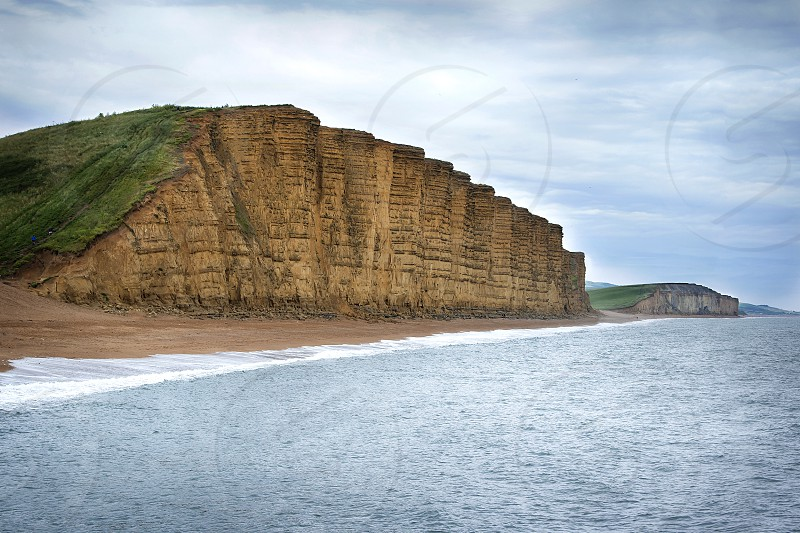The cliffs at West Bay in Dorset England. photo
