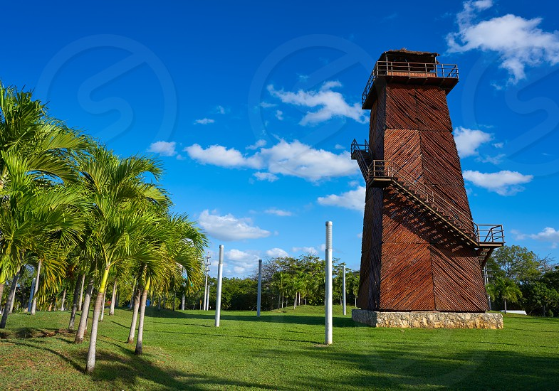 Cancun old airport control tower in wood at Mexico photo