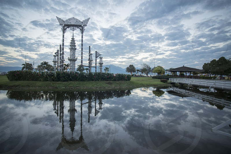 the park at the Lake Phayao in the city of Phayao in North Thailand. photo