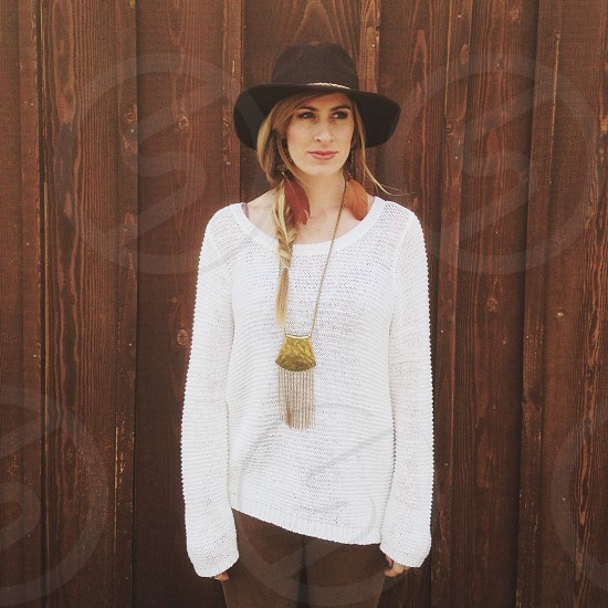 women's white open weave sweater photo