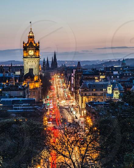 Edinburgh. Princes Street at night.  Night photography.  City night photography.  City lights. Scotland City. photo