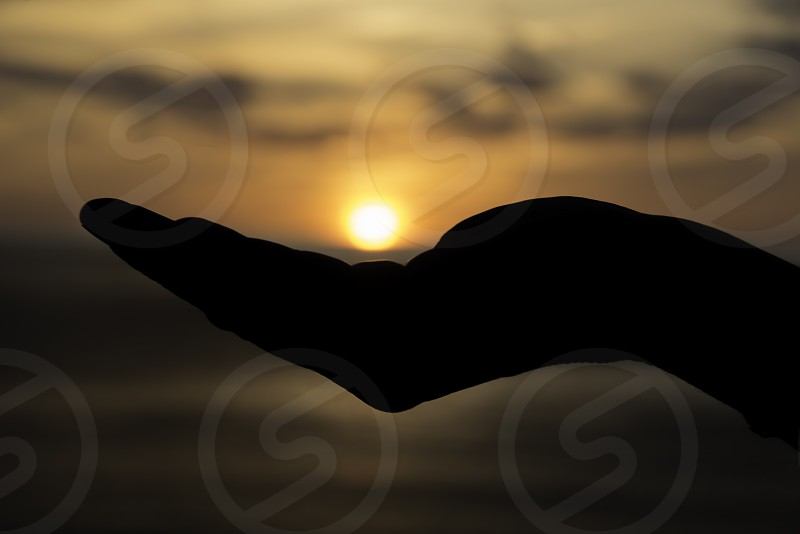 female hand with the sun during sunset on her hand photo