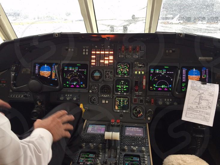 Cockpit of Falcon jet photo