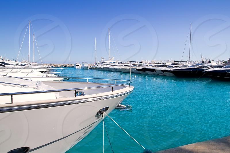 Calvia Puerto Portals Nous luxury yachts in Majorca Balearic Island from Spain photo