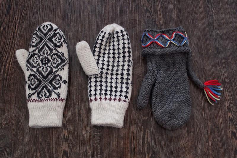 Glove knitted pattern three warm photo