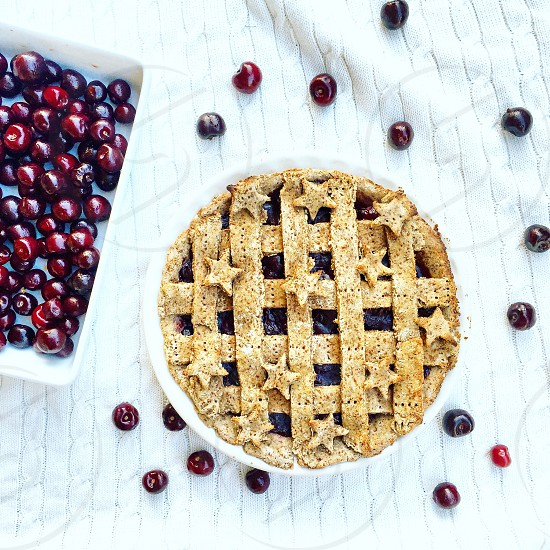 cherry pie on white ceramic bowl photo