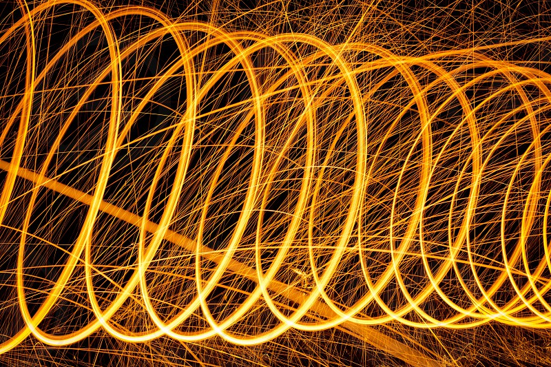 Fire walk with me... Burning steel-wool moving sculpture. photo