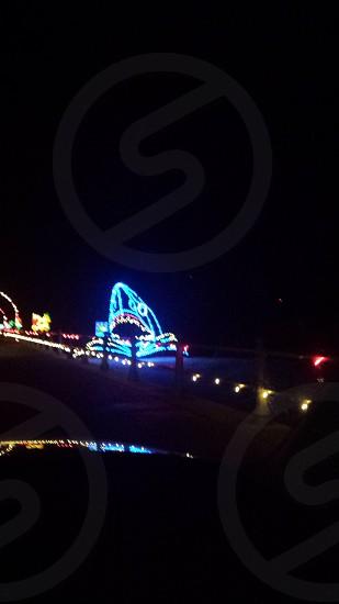 Christmas lights on the beach. Shark attack. photo