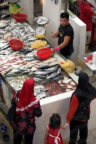 the fishmarket in the little india town in the city of Singapore in Southeastasia. photo