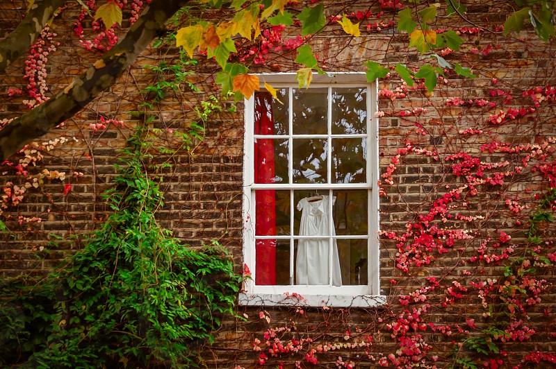 Nightgown in autumn window. photo