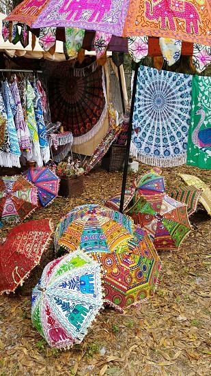 kaleidoscope of colorful umbrellas photo