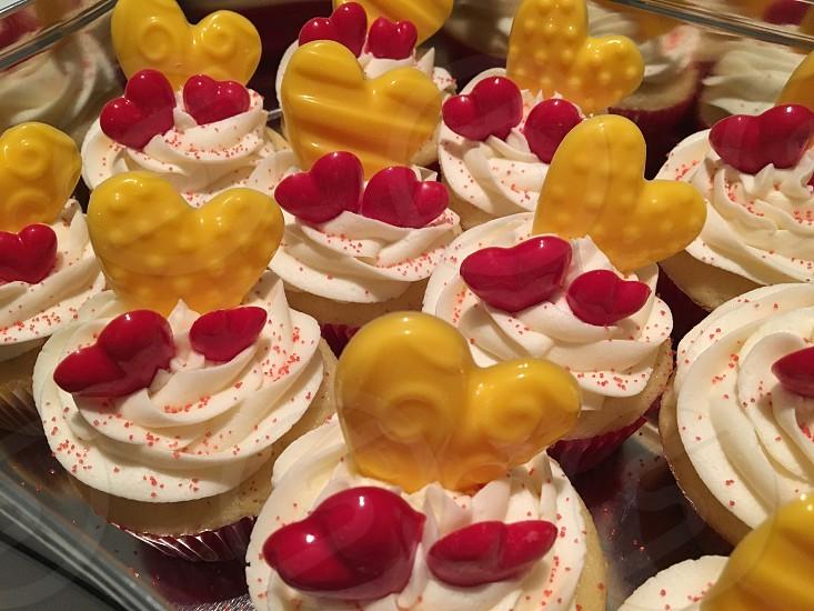 Cupcakes Valentine hearts yellow red homemade  photo