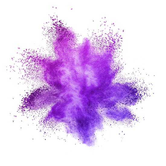 Explosion of colored powder isolated on ultra violet background. Inventive and imaginative Ultra Violet lights the way to what is yet to come. Color of the Year 2018 Pantone photo