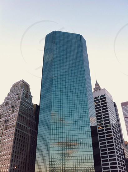 tall blue building photo