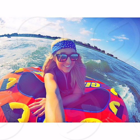GoPro lake tubing jet ski sunshine photo