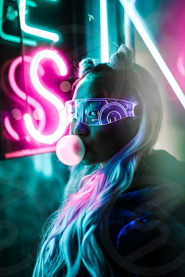 Night Portraits with an urban futurism theme utilizing neon and cyperpunk tones. photo