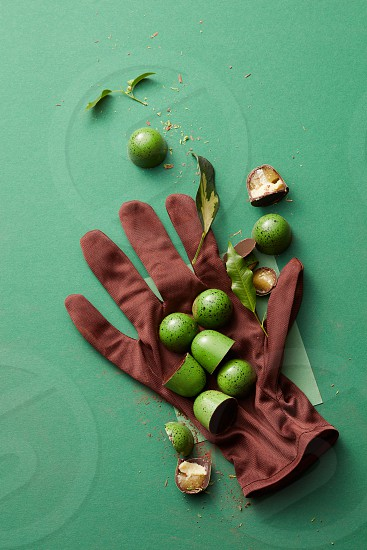 chocolates on the glove and leaves on a green background with space for text photo