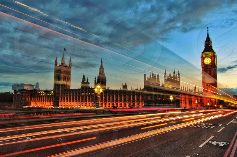 Light trails on Westminster Bridge London photo