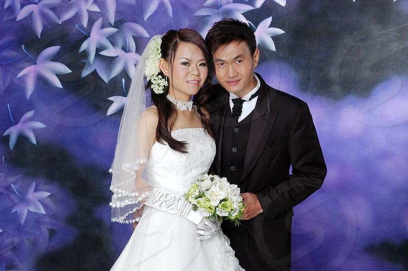 couple's wedding photo photo