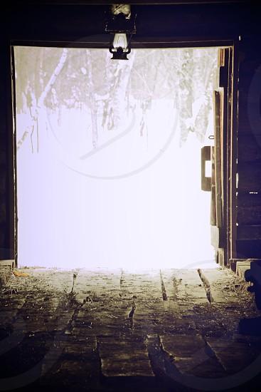 brown wooden barn door photo